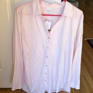 Jjill blouse in pink and white stripe NWT